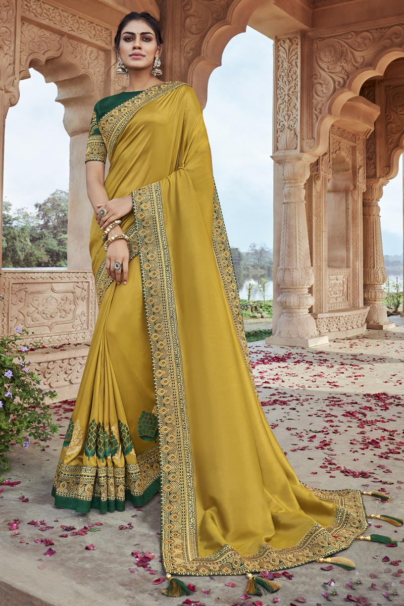 Party Wear Yellow Color Chic Embroidered Saree In Fancy Fabric