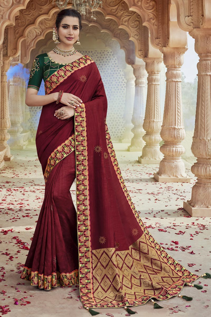 Party Wear Maroon Color Chic Embroidered Saree In Fancy Fabric