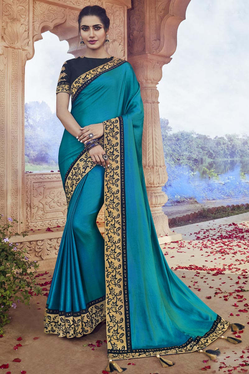 Fancy Fabric Party Wear Sky Blue Color Chic Embroidered Saree