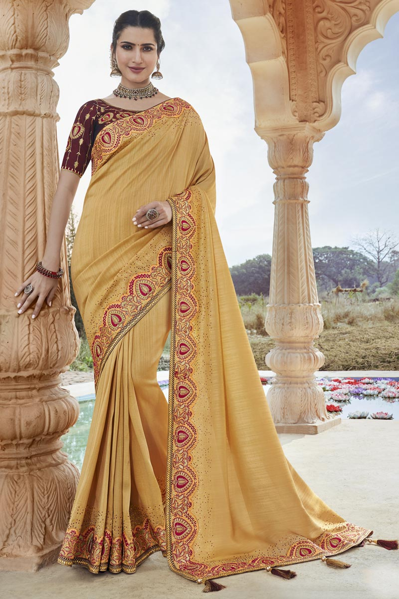 Fancy Fabric Party Wear Beige Color Chic Embroidered Saree