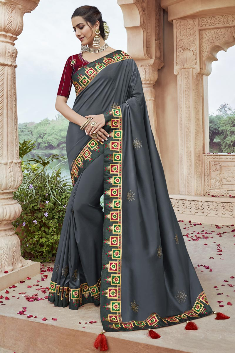 Party Style Fancy Fabric Chic Grey Color Embroidered Saree