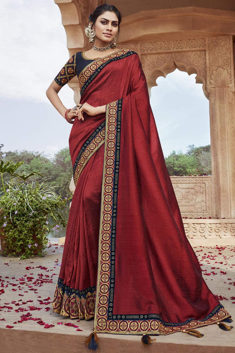 Party Style Fancy Fabric Chic Embroidered Saree In Maroon Color