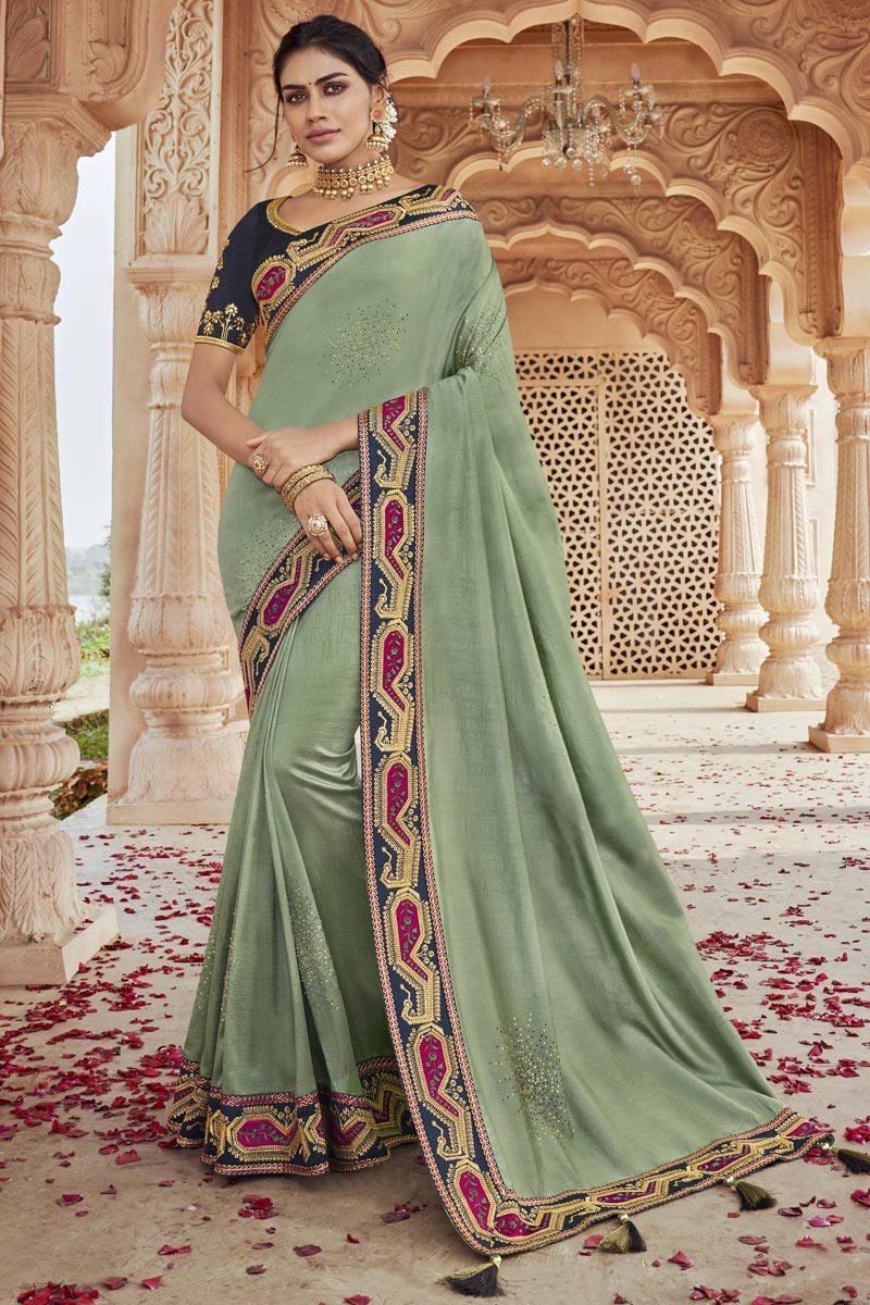 Sea Green Color Party Style Chic Fancy Fabric Embroidered Saree