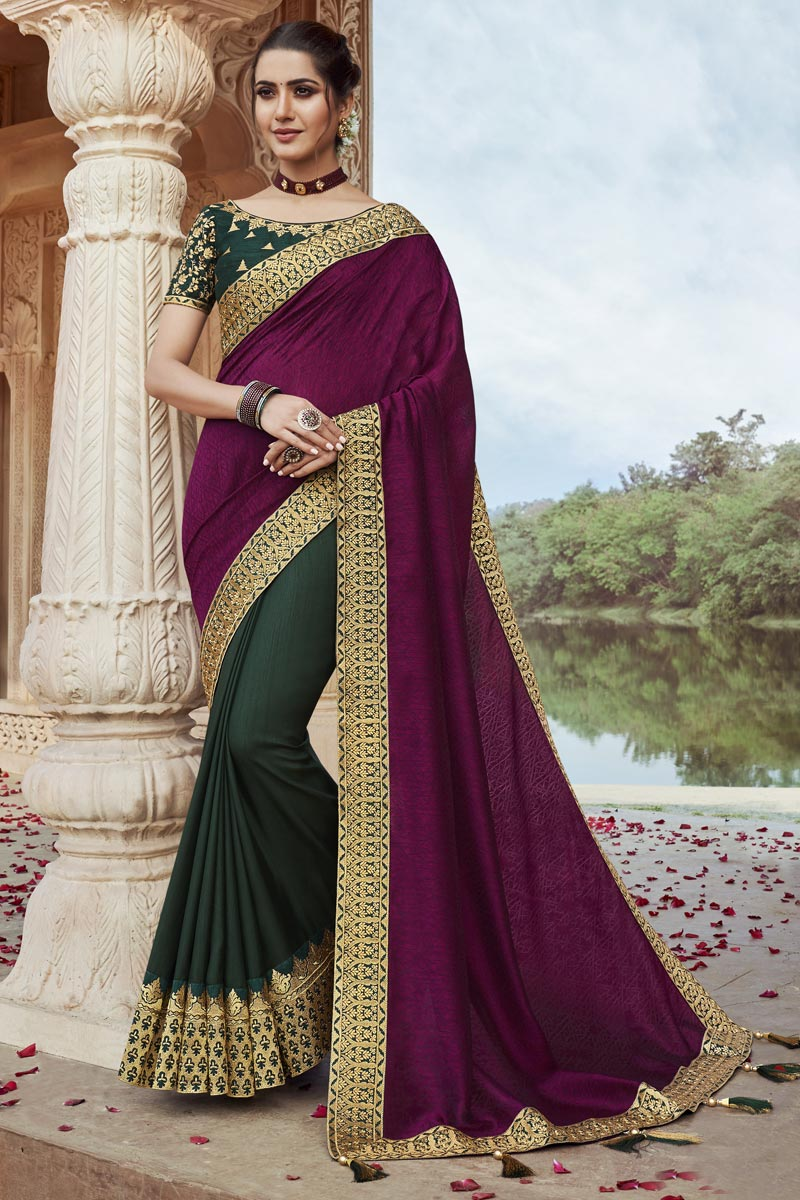 Fancy Fabric Chic Party Style Dark Green Color Embroidered Saree