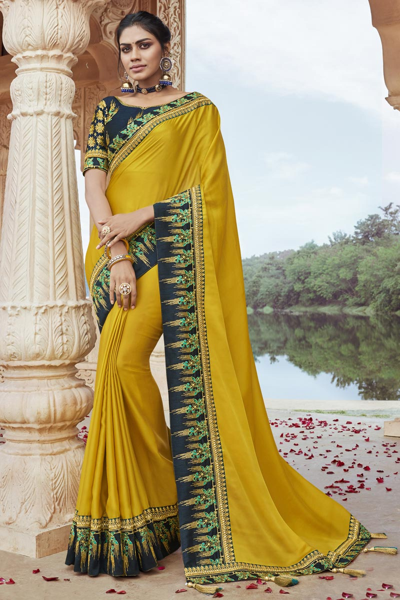 Yellow Color Party Style Fancy Fabric Chic Embroidered Saree