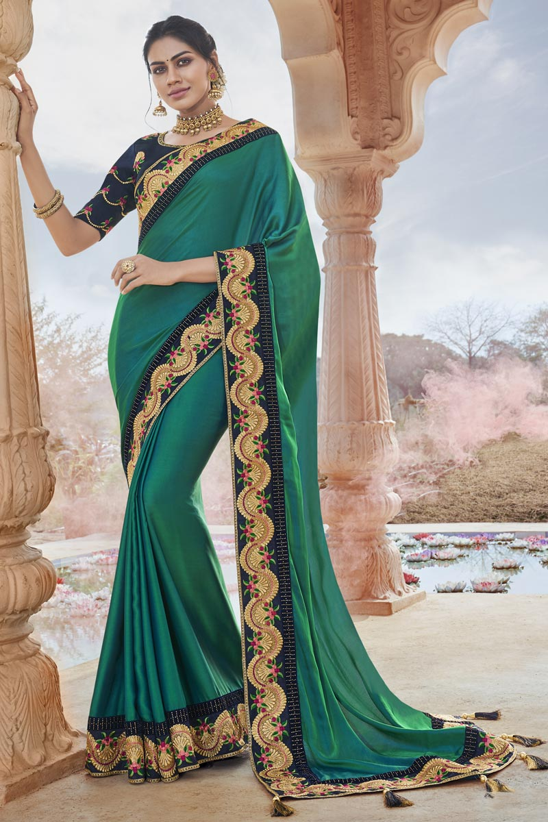 Fancy Fabric Party Style Chic Teal Color Embroidered Saree