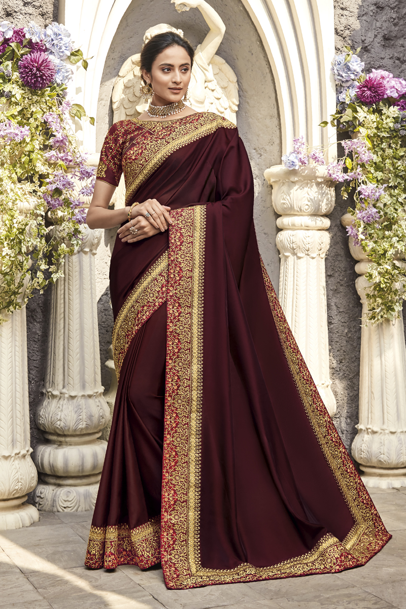 Festive Special Wine Color Designer Saree In Fancy Fabric