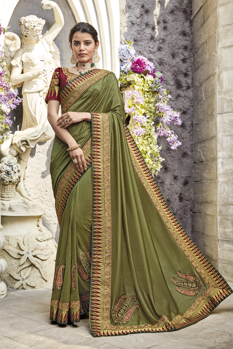 Function Wear Olive Color Saree In Fancy Fabric