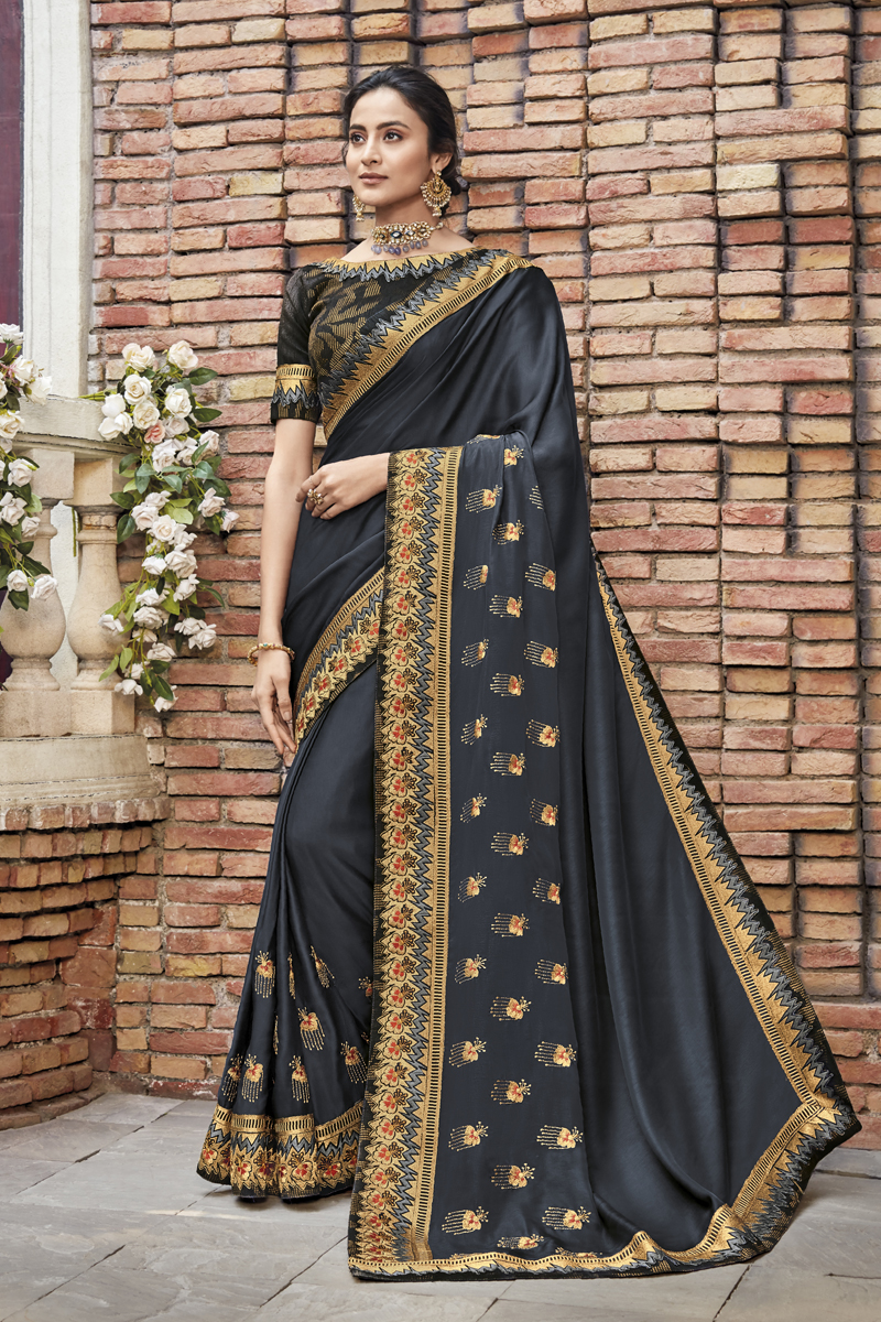 Festive Special Black Color Traditional Saree In Fancy Fabric