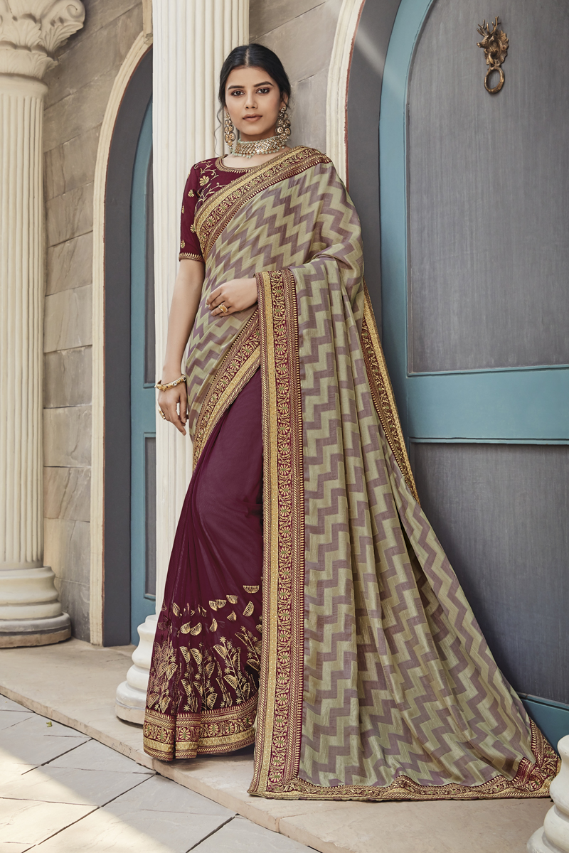 Festive Special Dark Beige Color Fancy Fabric Function Wear Saree