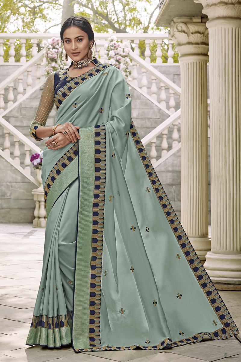 Fancy Fabric Light Cyan Color Designer Saree