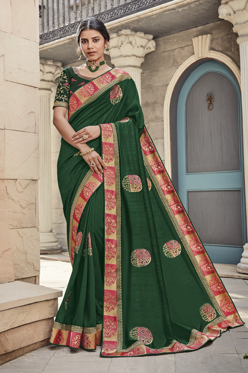 Festive Special Dark Green Color Party Wear Saree In Fancy Fabric