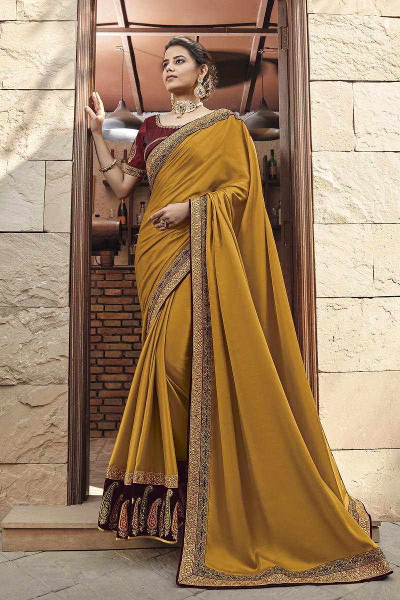 Designer Fancy Fabric Mustard Color Saree