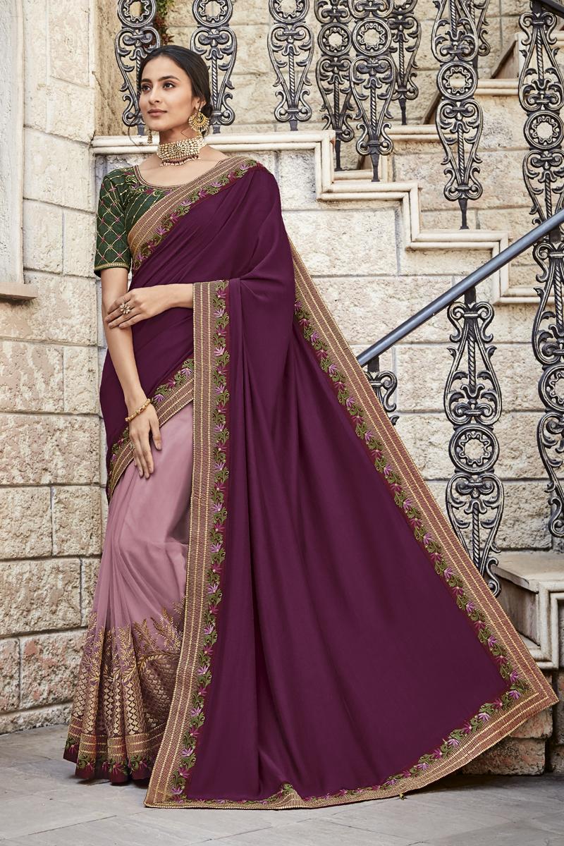 Festive Special Purple Color Fancy Fabric Occasion Wear Saree