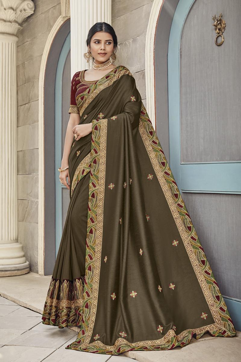 Festive Special Function Wear Dark Brown Color Saree In Fancy Fabric