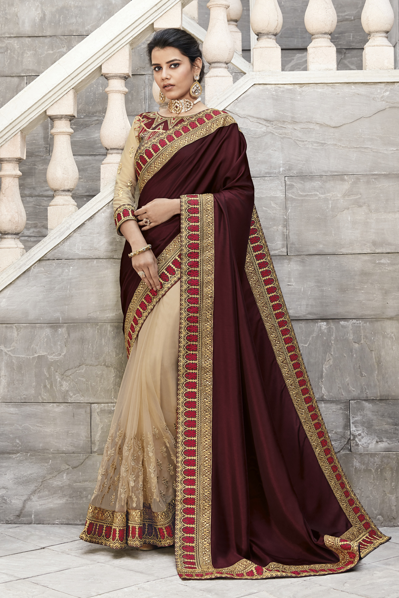 Designer Wine Color Fancy Fabric Party Wear Saree