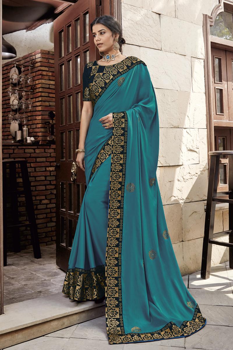 Fancy Fabric Dark Cyan Color Designer Saree