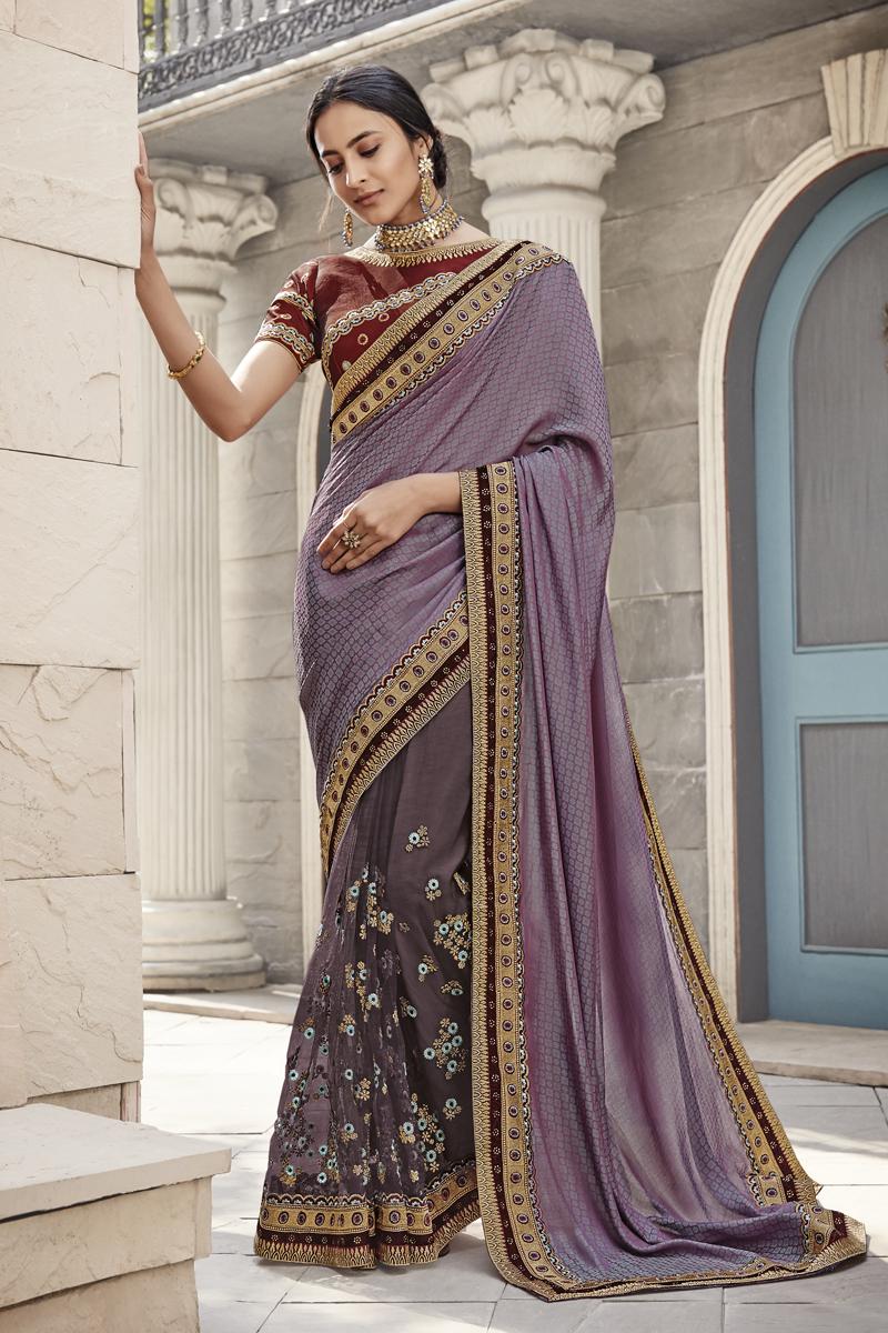 Fancy Fabric Designer Party Wear Saree In Violet Color