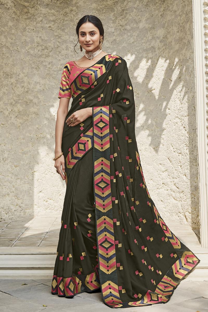 Festive Special Designer Fancy Fabric Dark Olive Color Party Wear Saree
