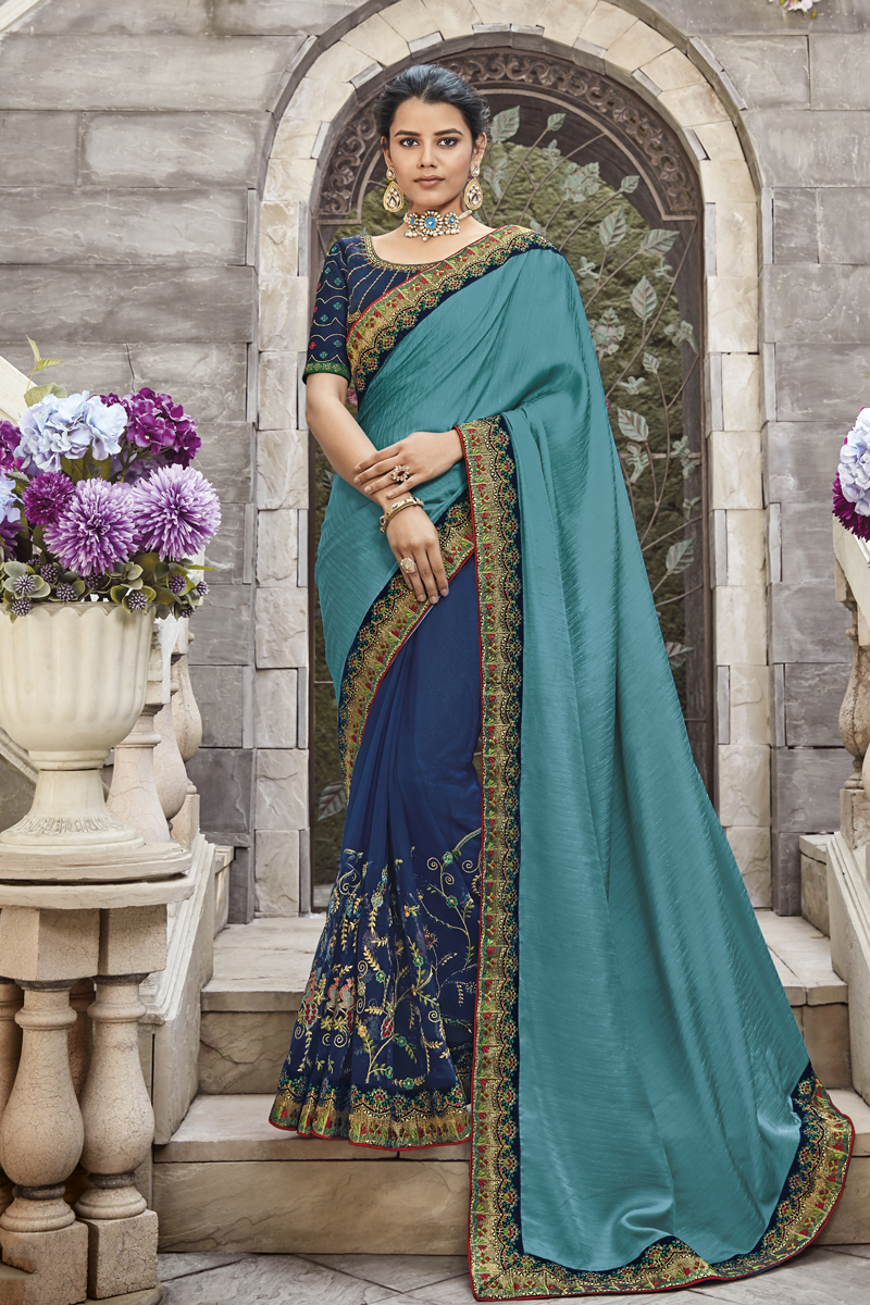Festive Special Designer Fancy Fabric Dark Cyan Color Saree