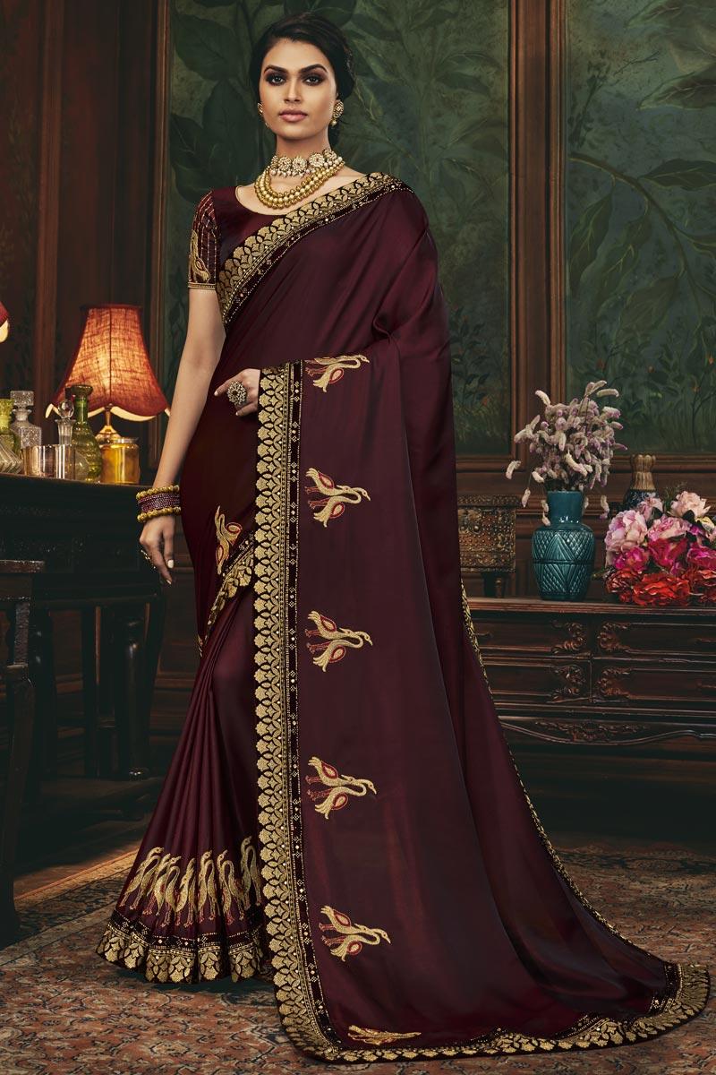 Art Silk Fabric Reception Wear Maroon Color Border Work Fancy Saree