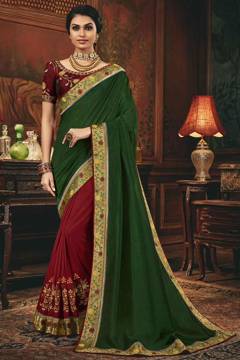 Festive Wear Art Silk Fabric Border Work Saree In Red Color
