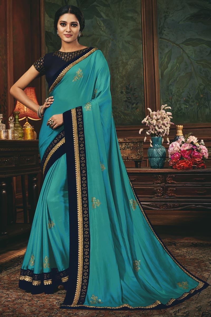 Art Silk Fabric Fancy Function Wear Cyan Color Border Work Saree