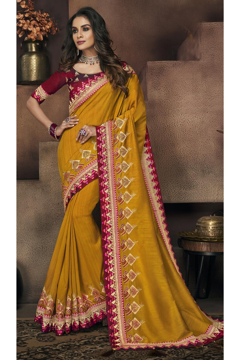 Fancy Fabric Mustard Festive Saree With Border Work And Gorgeous Blouse