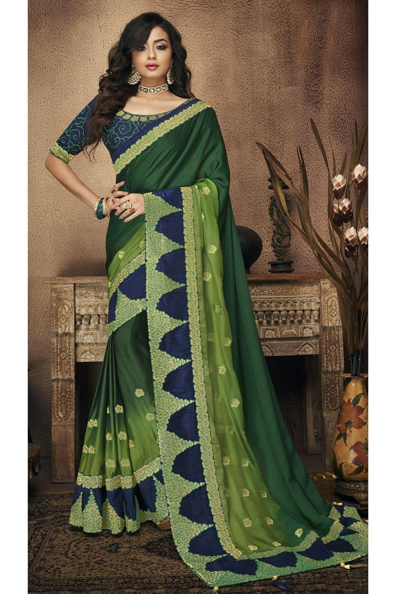 Border Work On Occasion Wear Saree In Dark Green With Designer Blouse