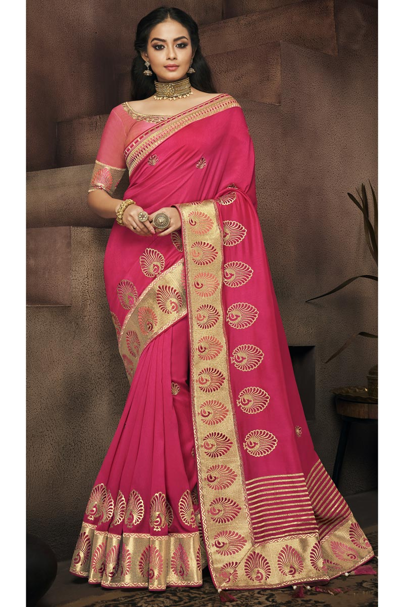 Pink Fancy Fabric Wedding Wear Saree With Border Work And Gorgeous Blouse