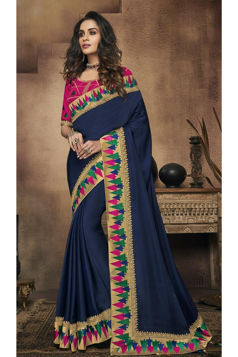 Border Work On Reception Wear Saree In Fancy Fabric Navy Blue With Charming Blouse