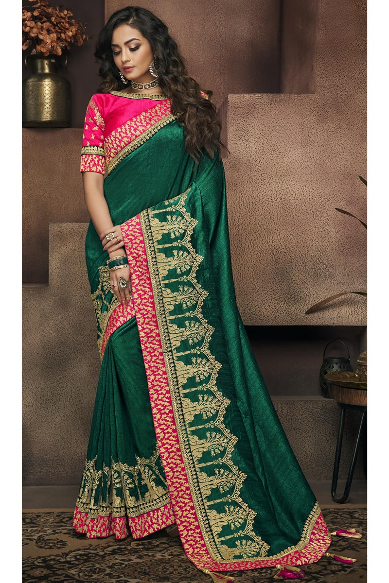 Border Work On Green Designer Saree In Fancy Fabric With Admirable Blouse