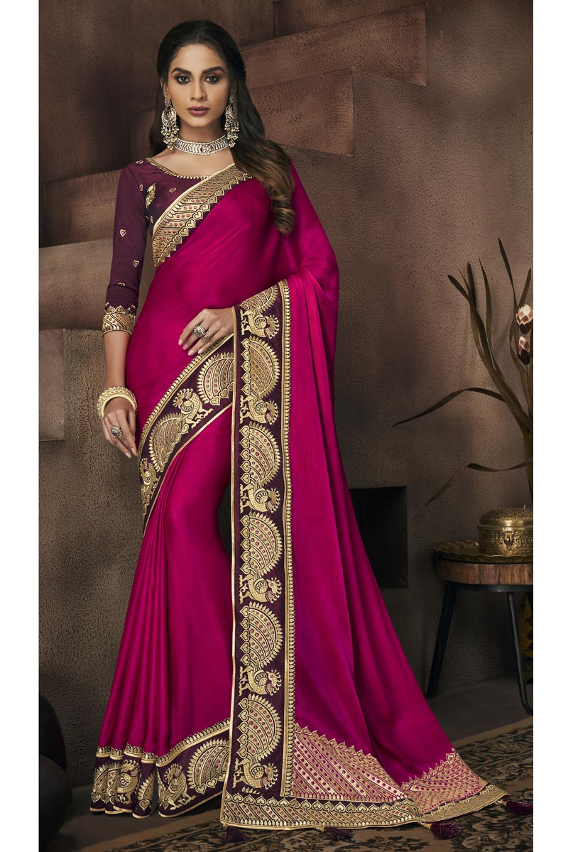 Fancy Fabric Magenta Festive Wear Saree With Border Work And Attractive Blouse