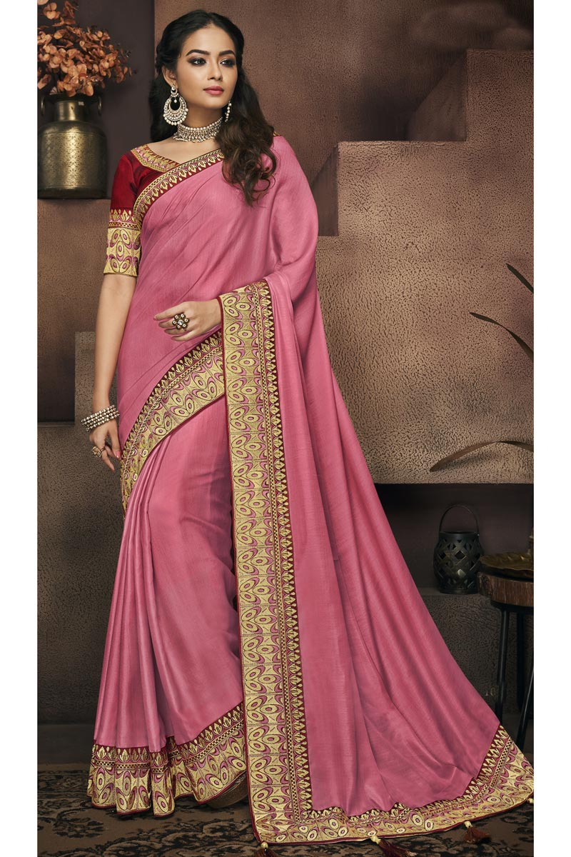 Border Work On Fancy Fabric Pink Function Wear Saree With Marvelous Blouse