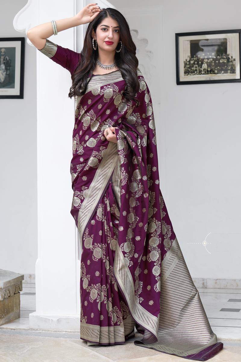 Purple Color Art Silk Fabric Weaving Work Function Wear Stylish Saree