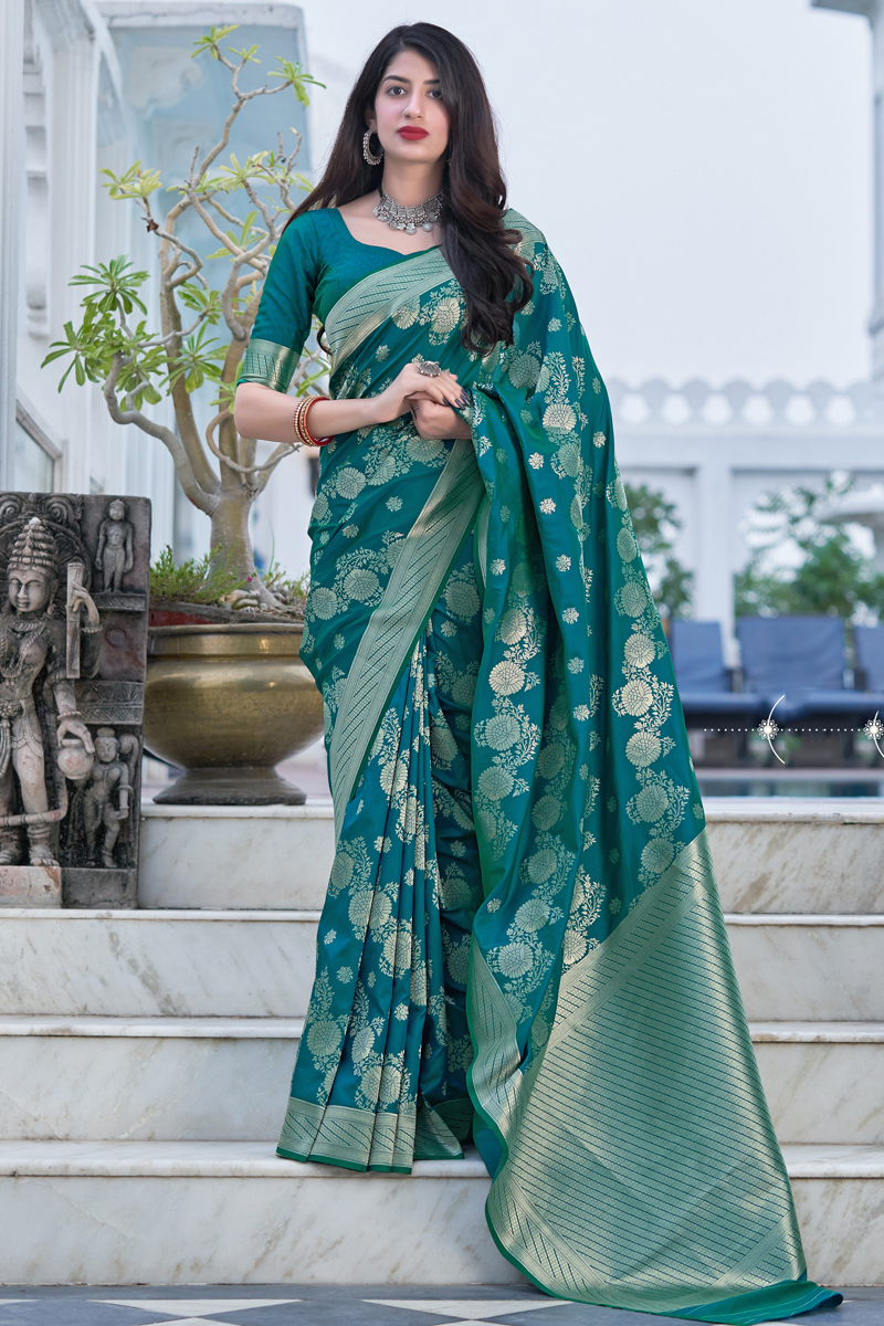 Art Silk Fabric Teal Color Weaving Work Festive Wear Fancy Saree