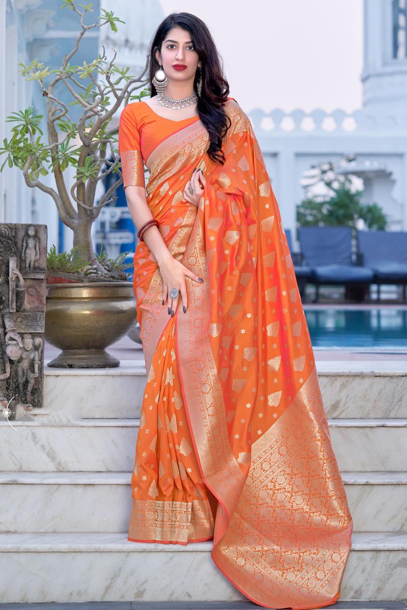 Art Silk Fabric Orange Color Sangeet Wear Designer Weaving Work Saree