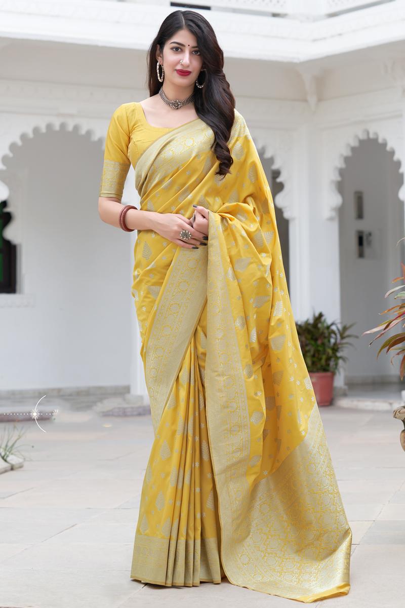 Art Silk Fabric Weaving Work Yellow Color Wedding Wear Fancy Saree