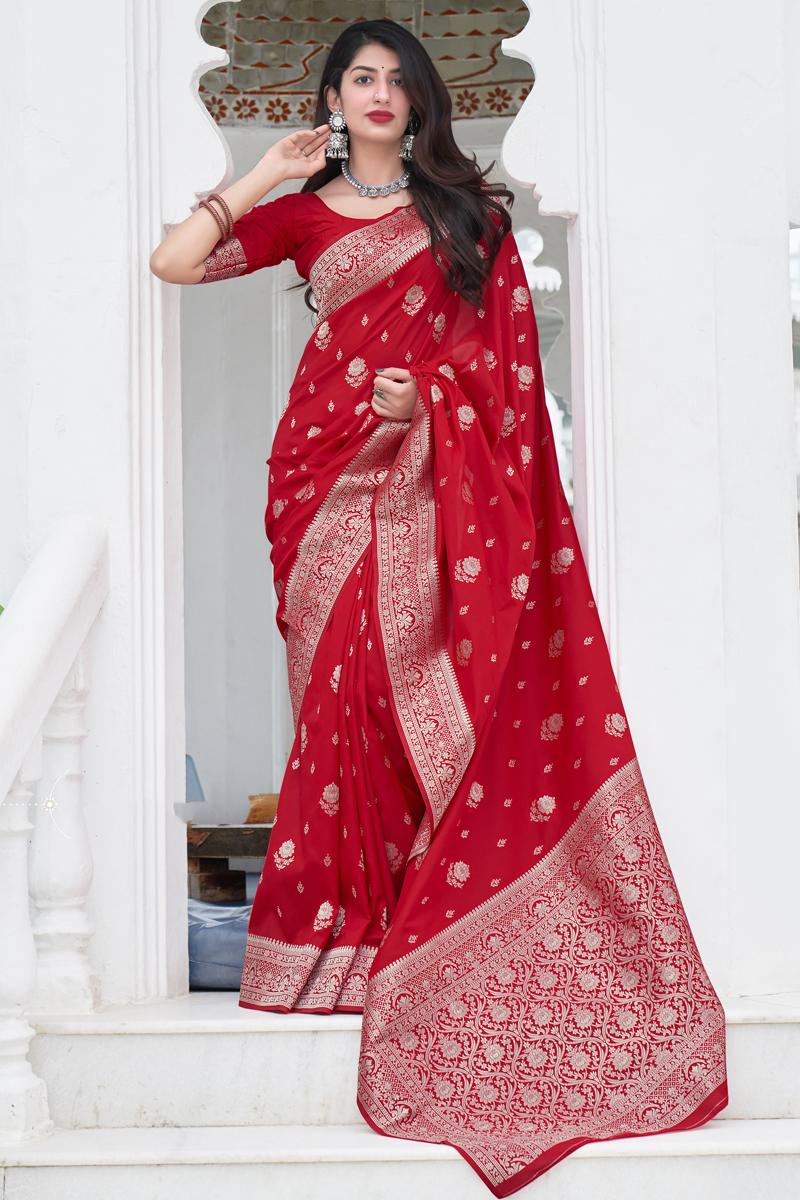 Red Color Art Silk Fabric Reception Wear Weaving Work Saree