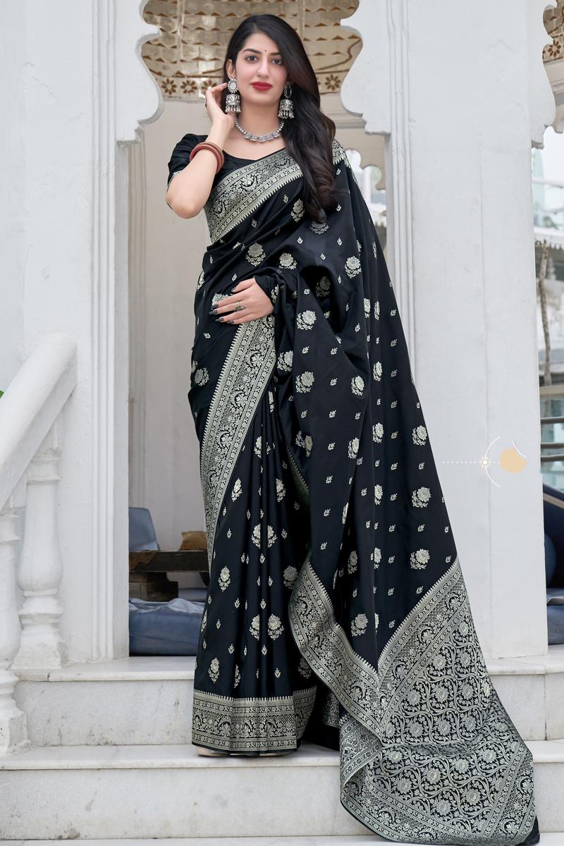 Black Color Art Silk Fabric Stylish Weaving Work Function Wear Saree
