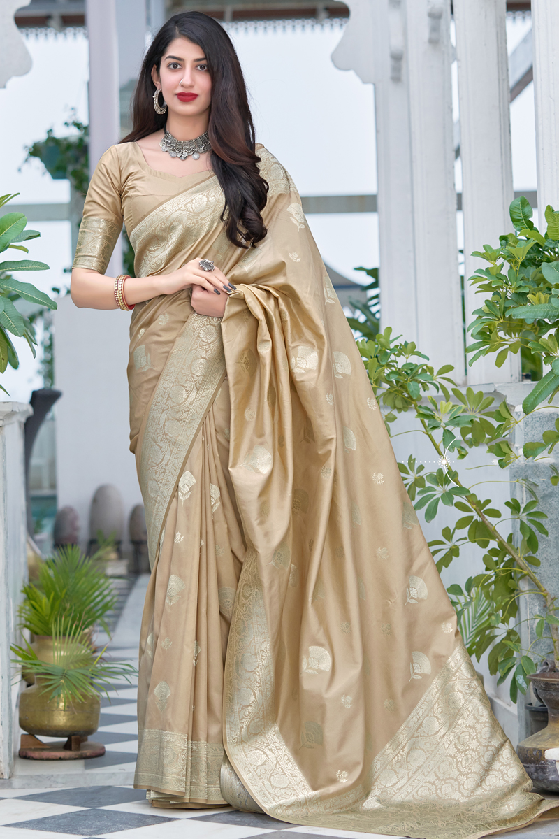 Designer Weaving Work Art Silk Fabric Beige Color Sangeet Wear Saree