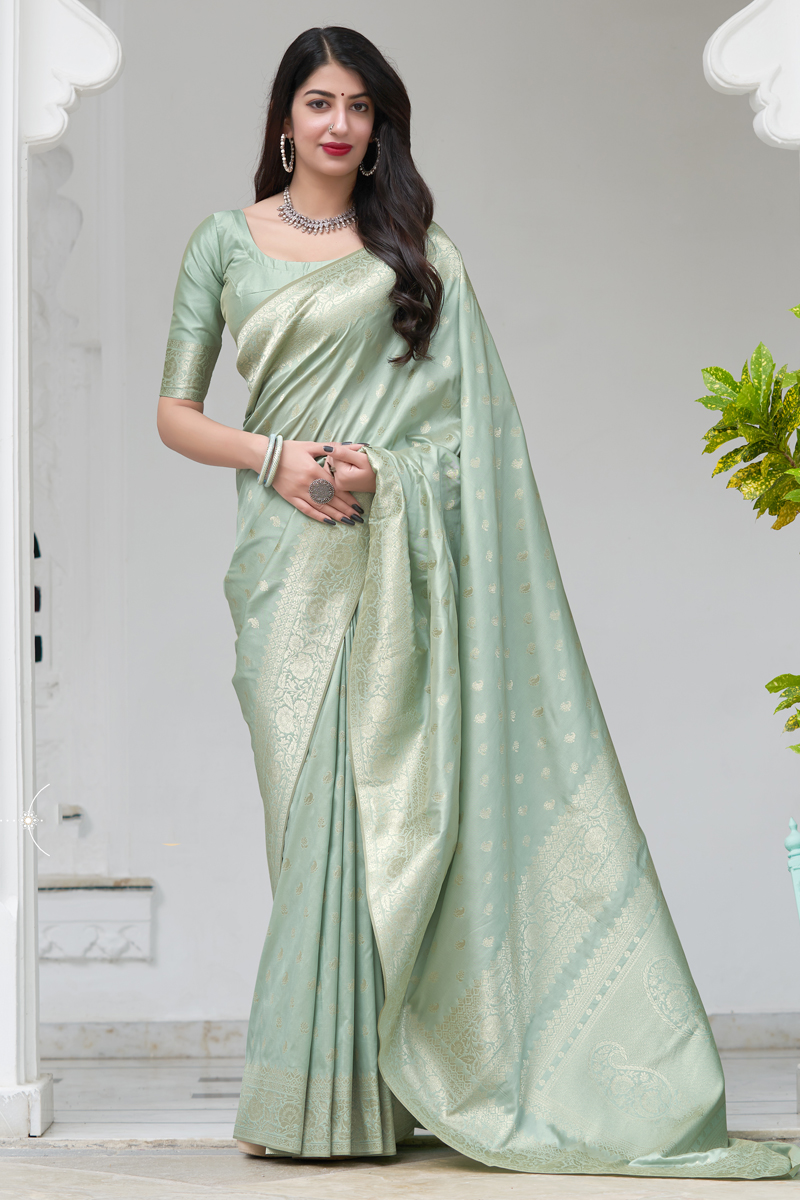 Art Silk Fabric Weaving Work Sea Green Color Wedding Wear Saree