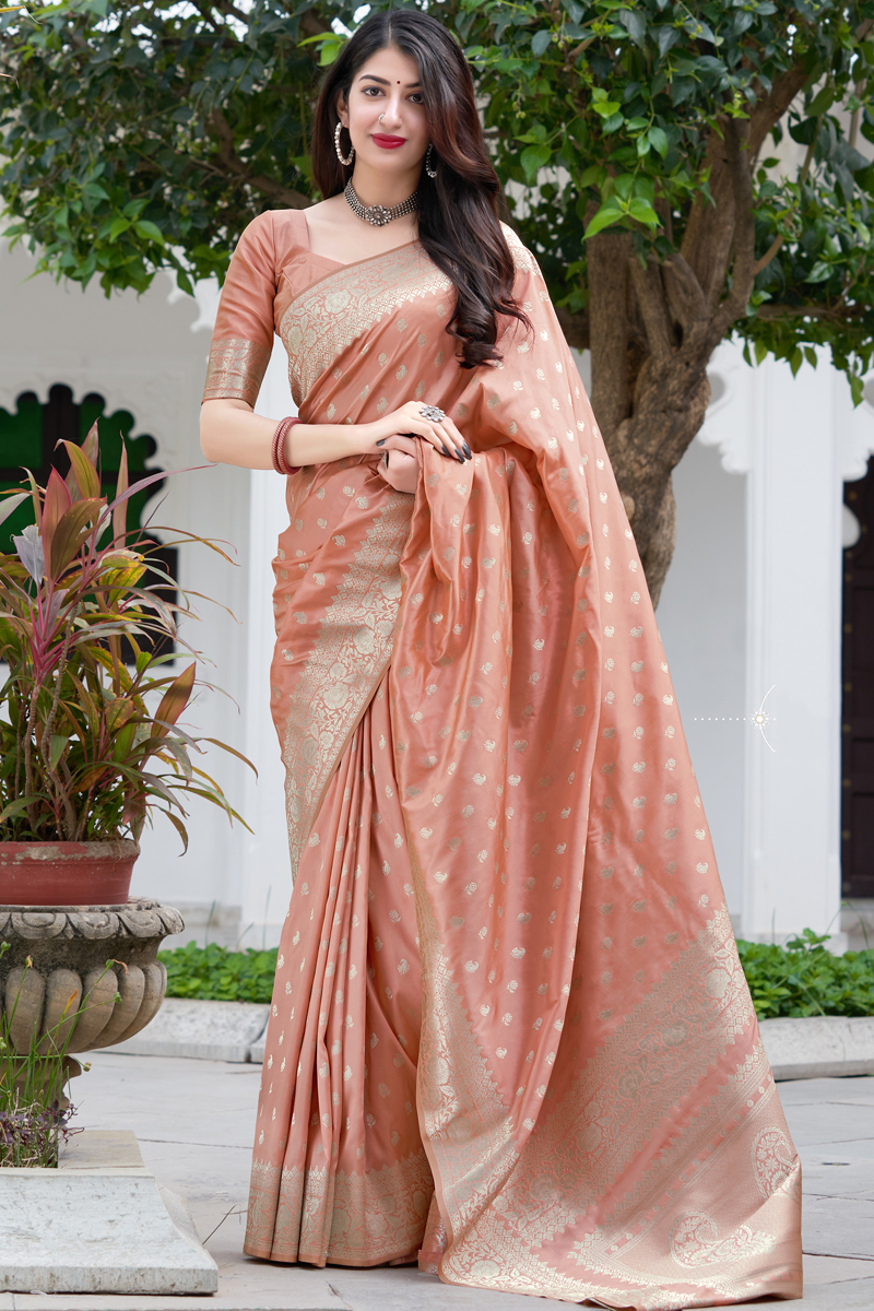 Peach Color Art Silk Weaving Work Reception Wear Saree