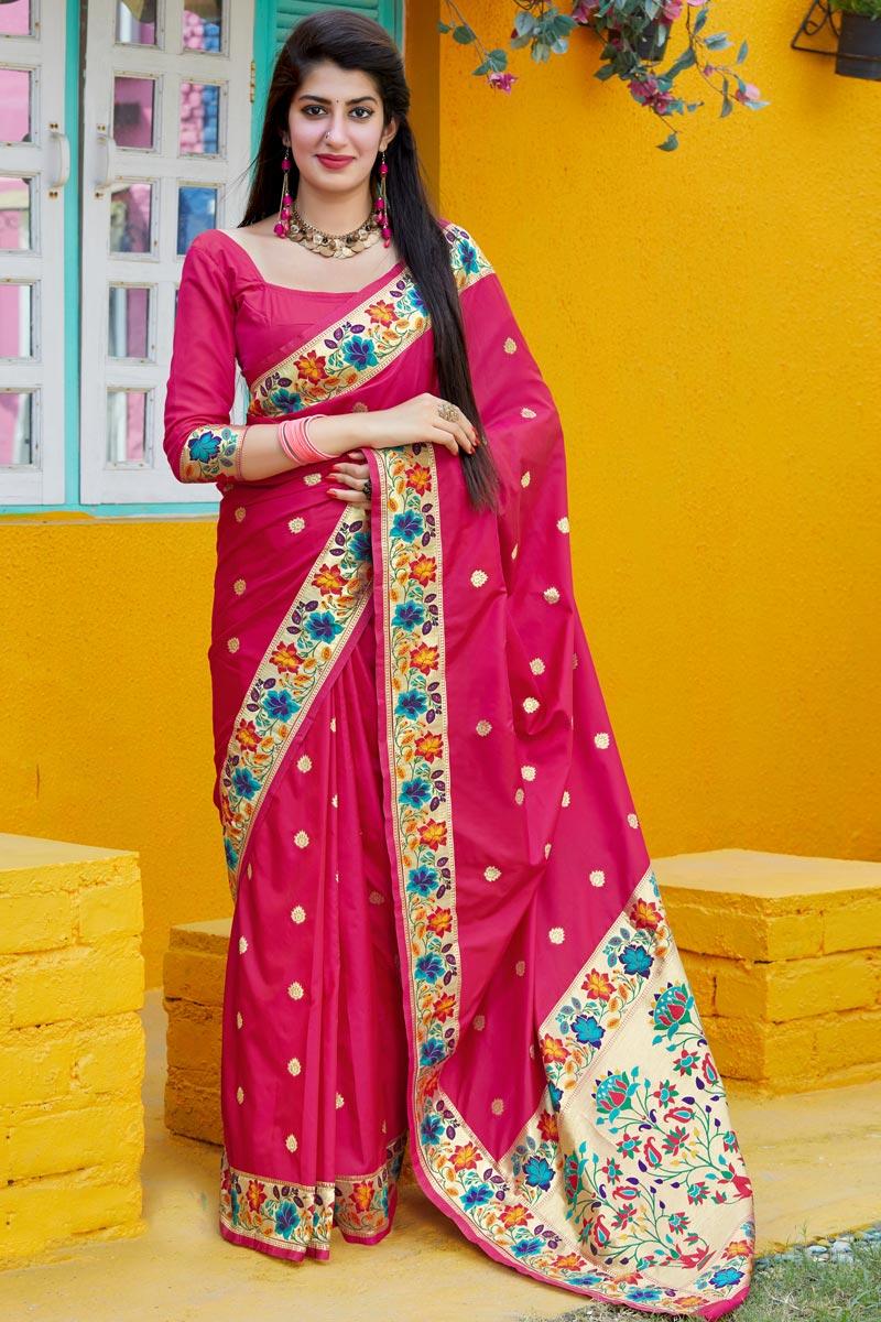 Rani Color Party Wear Art Silk Fabric Chic Weaving Work Saree