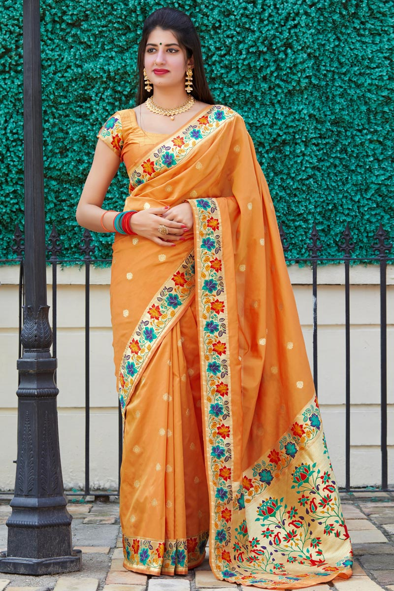 Art Silk Fabric Party Wear Chic Weaving Work Saree In Orange Color