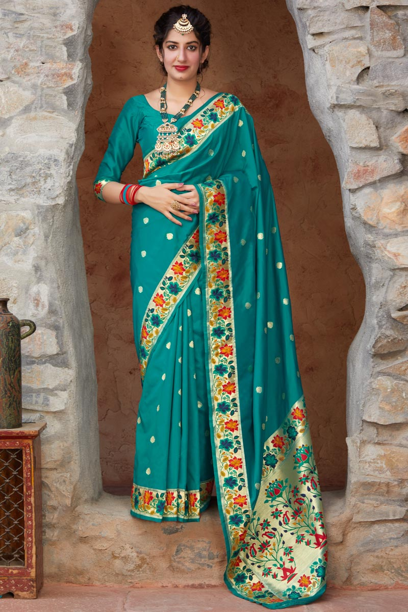Party Wear Cyan Color Chic Art Silk Fabric Weaving Work Saree