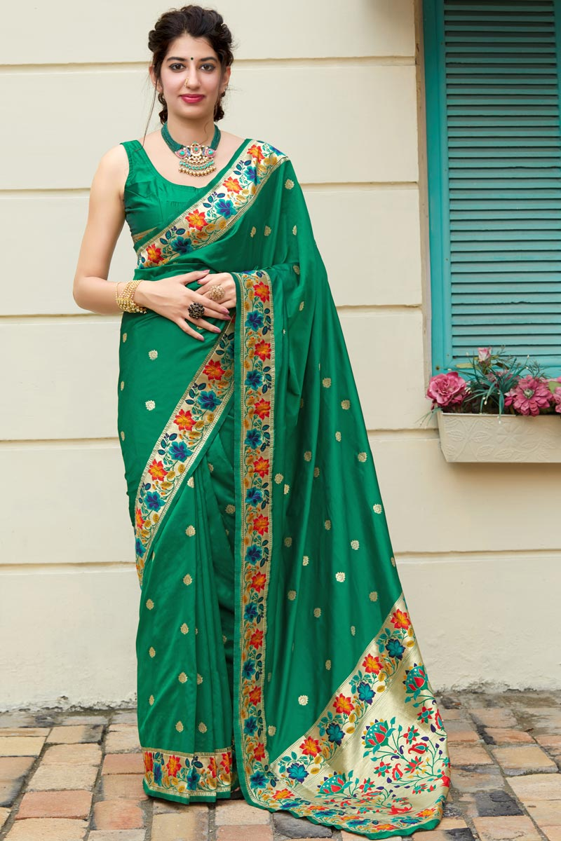 Party Wear Art Silk Fabric Chic Weaving Work Saree In Green Color