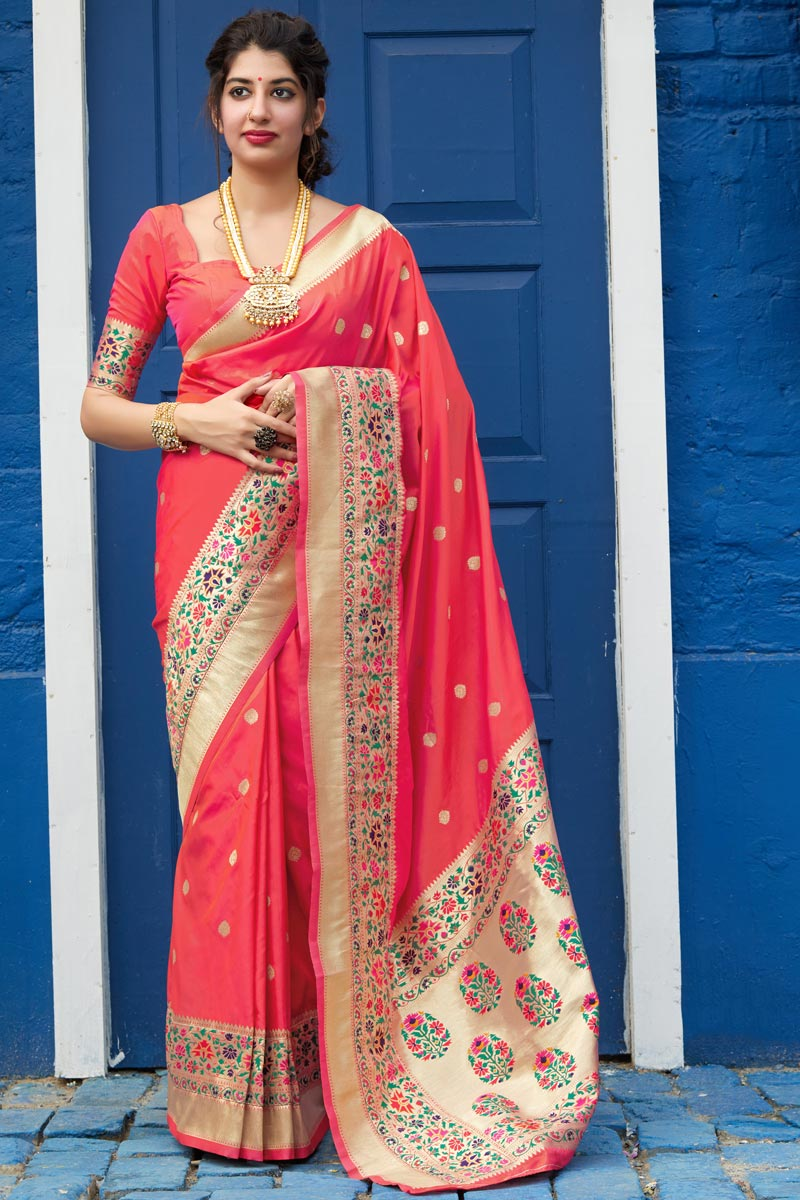 Peach Color Party Wear Chic Art Silk Fabric Weaving Work Saree