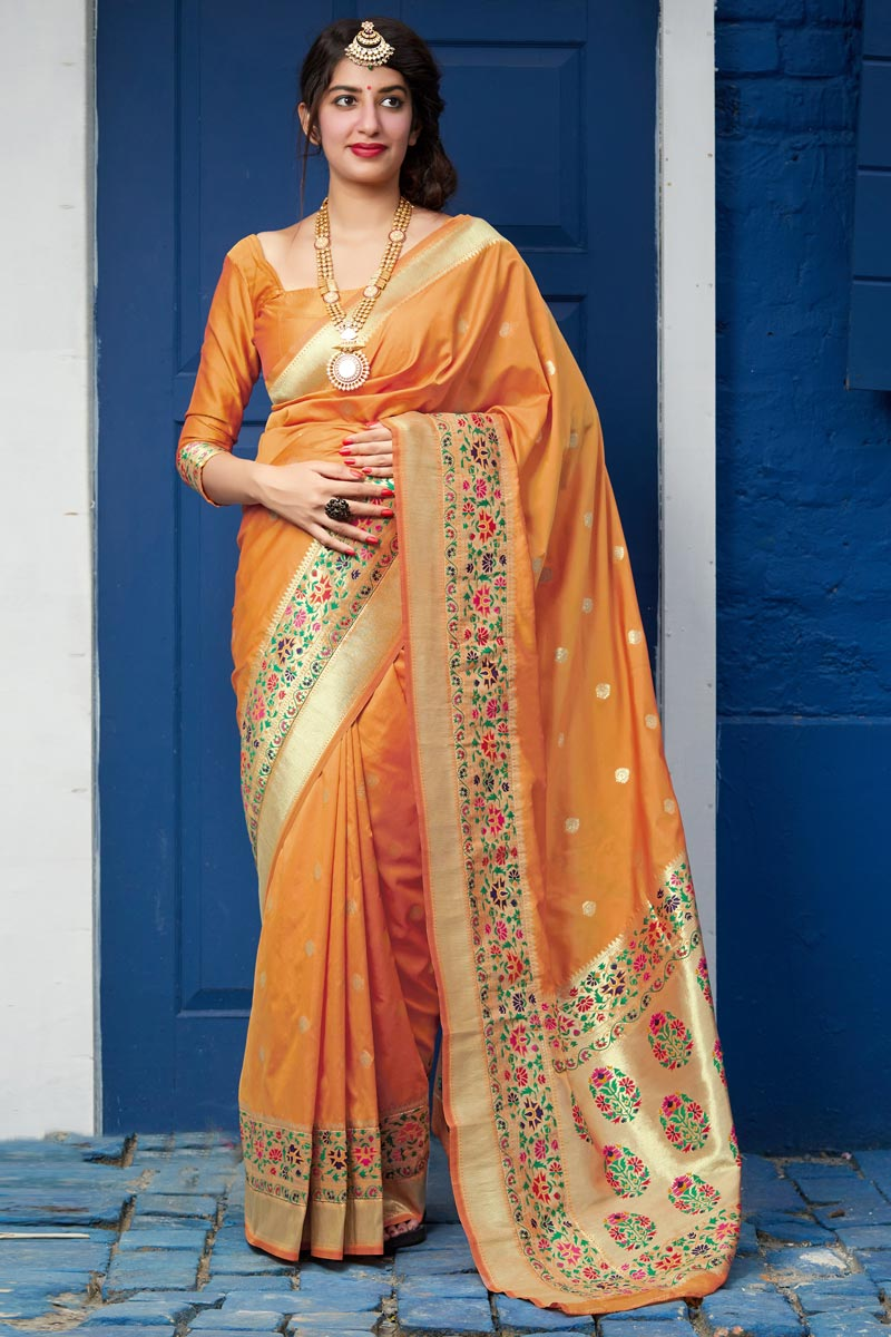 Orange Color Chic Party Wear Art Silk Fabric Weaving Work Saree