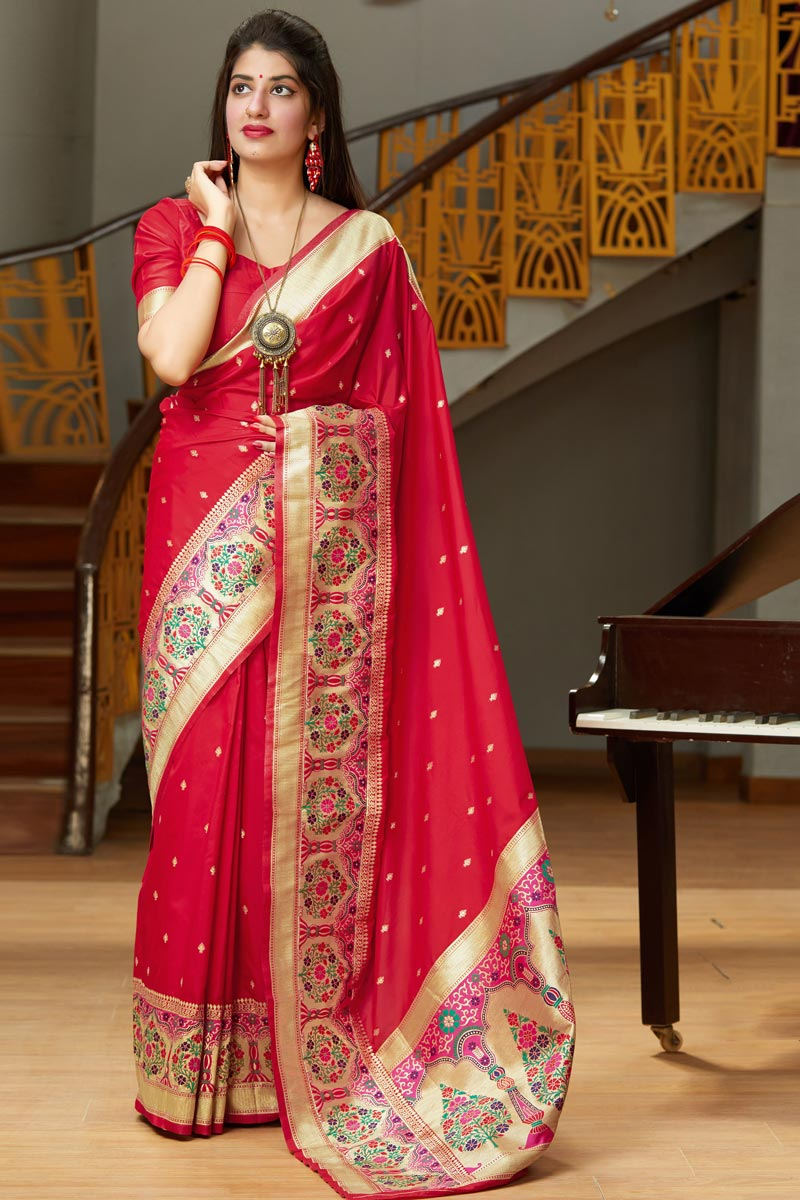 Art Silk Fabric Party Wear Red Color Chic Weaving Work Saree